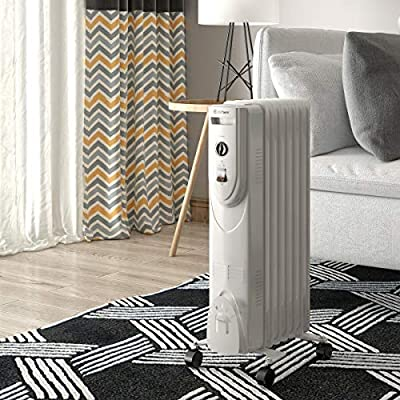 White Quiet Boiler Caster Column 3 Heat Adaptable Overheat Protection 7 Fin Oil Filled Radiator Fire place Pit Electronic Area Heater