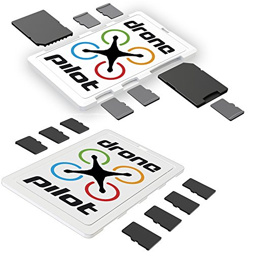 DiMeCard-SD & micro8 DRONE PILOT microSD + SD Memory Card Holders COMBO PACK (ultra thin credit card size safe storage case organizer for DJI Phantom drone quadcopter extreme sports action cams