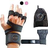 NoLimit® Guantes de fitness para hombre y mujer (rosa/negro) con muñequera |...