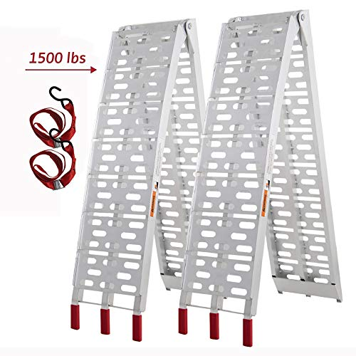 SUNCOO 7.5ft Aluminum Loading Ramps ATV Ramps for Trucks 1500lb Capacity Motorcycle/Lawn Mower/Pickup/Snow Blower/Dirt Bike Folding Ramps Lightweight Arched Dual Runner Ramp 90 L x 11 W inch