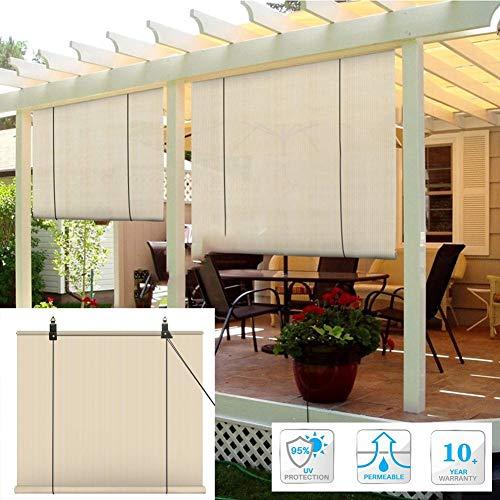 Sonnensegel Sichtschutznetz, Verdunkelungsrollo Rollo Jalousie Sonnenschutz Regenfest Durchscheinend Sonnenschutz Atmungsaktiv HEPE Zum Terrasse Garten Balkon, 45 Größen LJAINW