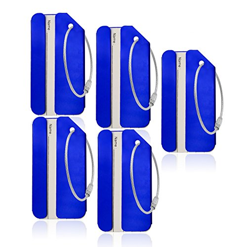 Aluminum Luggage Tag for Luggage Baggage Travel Identifier By CPACC (Blue 5PCS)