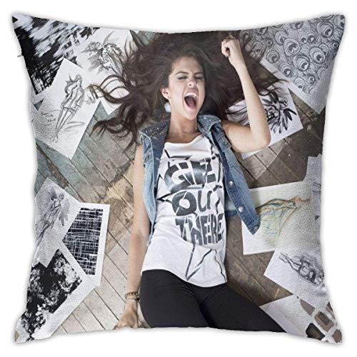 Lucky Home Selena Gomez - Funda de almohada decorativa, funda de sofá, funda de almohada de 18 x 18 pulgadas