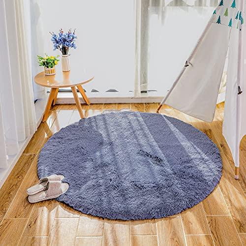 Alfombras mullidas súper Suaves, alfombras de Terciopelo, alfombras Redondas, Hermosas alfombras de Dormitorio mullidas, adecuadas para Cojines de sofá de baño (Gris, 120x120cm)