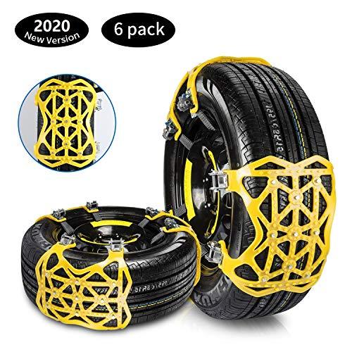 Qisiewell Cadenas de Nieve Amarillo Nuevo en 2020 Universale Cadenas de Neumáticos Antideslizantes para Automóviles Fácil de Montar TPU + Acero Ancho de Neumáticos 165-285 mm