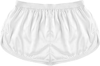 Aislor Men's Satin Silk Shiny Boxer Shorts Side Split Underwear Swim Trunks Summer Lounge Short Pants