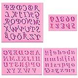 4 stampi in silicone per pasta di zucchero, con lettere maiuscole e minuscole, per realizzare cioccolatini, saponi, biscotti, cubetti di ghiaccio, dolci, colore rosa