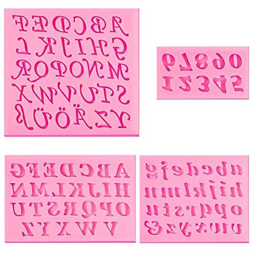 4 moldes de silicona para fondant, letras mayúsculas, moldes de silicona para fondant, letras minúsculas, chocolate, jabones, galletas, cubitos de hielo para hacer postres, color rosa