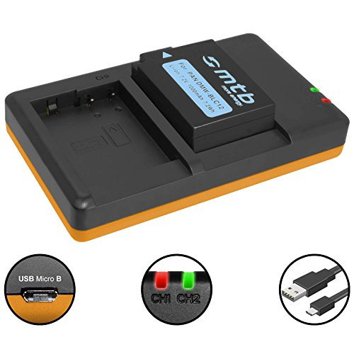 Batería + Cargador Doble (USB) para Panasonic DMW-BLC12(E) / Lumix DMC-FZ200, FZ300, FZ1000, FZ2000. / Sigma DP Quattro/Leica Q (Typ 116) - Ver Lista (Contiene Cable Micro USB)