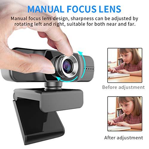 DERCLIVE Treiberfreie 1080P USB-Webcam-Computerkamera mit Mikrofon für Videokonferenzen Und Videoanrufe
