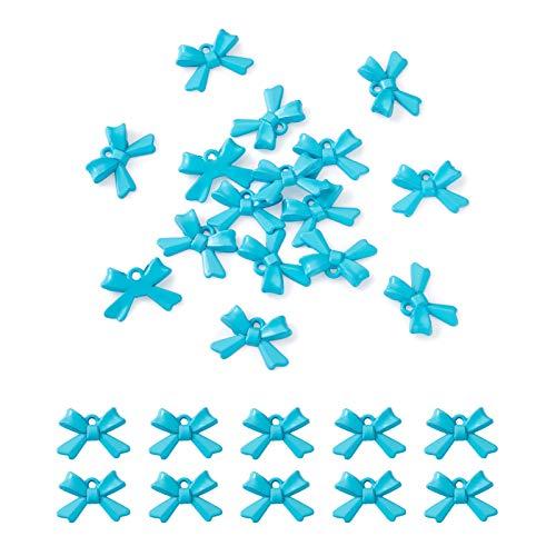 Beadthoven - 20 colgantes esmaltados con lazo de metal de 15 x 10 x 3 mm, para collar, pulsera, pendientes, bricolaje, joyería, azul cielo