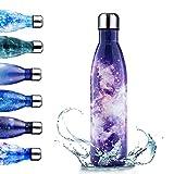 Enlifety Bottiglia Acqua in Acciaio Inox, 350ML/500ML/750ML Borraccia Termica, Isolamento ...