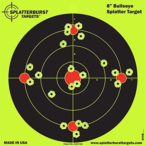 Paket von 25 - Splatterburst Ziele - 20,3 cm - Reaktive Bullseye Ziele - Schüsse platzen hell fluoreszierend gelb beim Aufprall - Gewehr - Pistole - Airsoft - BB Gun - Luftgewehr