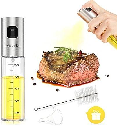 Preisvergleich für Maxcio Ölsprüher mit Skala, Öl Sprüher Flasche aus Glas und Edelstahl, Transparent Oil/Essig/Wein Zerstäuber, Küche Werkzeug für Kochen, Salat, BBQ, Grill, Braten und Backen, 2 Zubehör