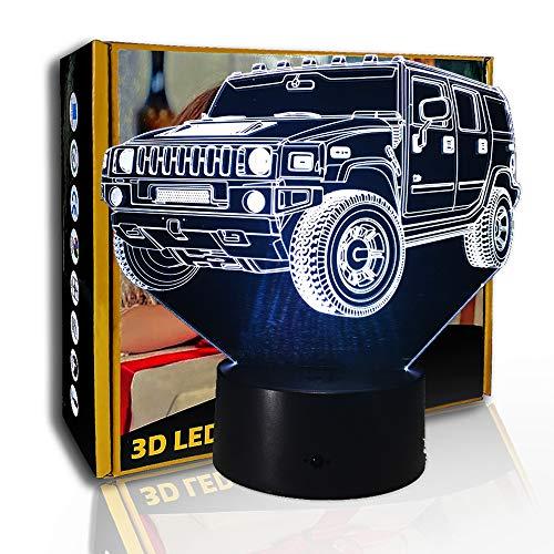 KangYD 3D Luz nocturna Cool Suv Car, lámpara de ilusión LED, lámpara de mesa de escritorio, E- Base para despertador (7 colores), Decoración del hogar, Acrílico