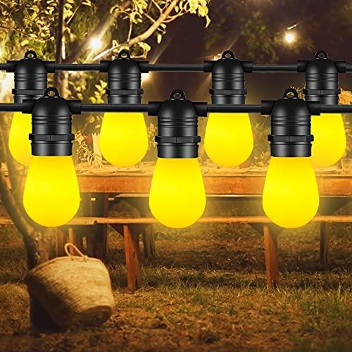 Guirlande Guinguette Extérieure, FOCHEA 15M Guirlande Lumineuse Flamme avec 15 LED Ampoules IP65 Étanche Décoration Intérieur et Extérieur pour Jardin, Patio, Fête, Noël