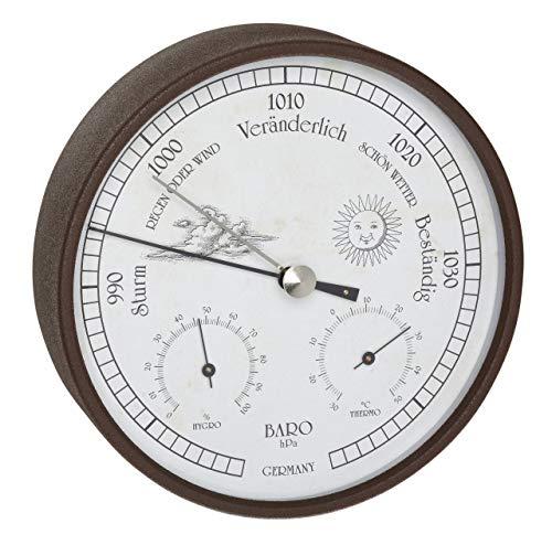 TFA Dostmann Stazione meteo analogica per interni ed esterni, barometro, igrometro e termometro, resistente alle intemperie