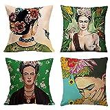 YOYOTECH Funda de Almohada cómoda de Estilo Mexicano Frida Kahlo Funda de Almohada Familia Decoración del Coche Caja de cojín de Lino de algodón 18x18in (45 x 45cm)