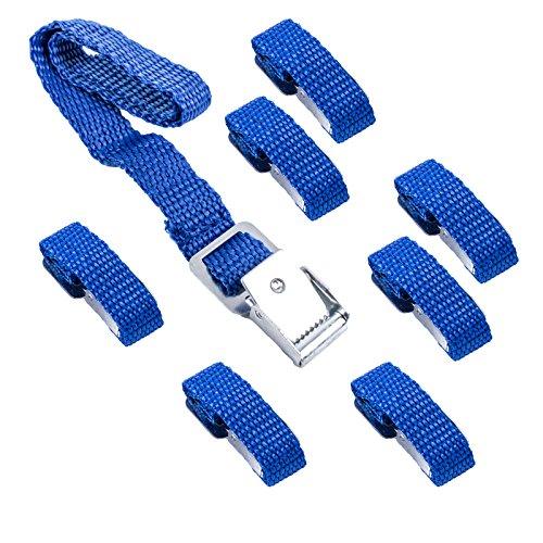Lot de 8 sangles de fixation bleues pour porte-vélos - 40 cm - Boucle en métal