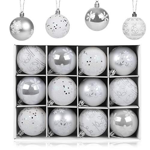 LIHAO 12er Set Weihnachtskugeln Christbaumkugeln Anhänger für Weihnachtsbaumschmuck Weihnachten Weihnachtsbaum Dekoration 6cm (Silber)