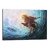 Modern Jesus Wall Art Hand of Jesus Under Water Teal...