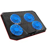 Laptop Cooling Pad, Gamenote Gaming Laptop Cooler with 4 Fans for up to 17 Inch Laptop Portable Small Notebook Cooling Stand 2 USB Ports