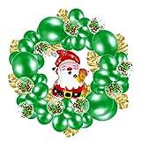 Kisangel 1 Juego de Globos de Navidad Conjunto de Guirnaldas de Guirnaldas de Globo de Papel de Santa Claus Hoja de Tortuga Globo de Látex Verde Globo de Confeti para Vacaciones Favor de