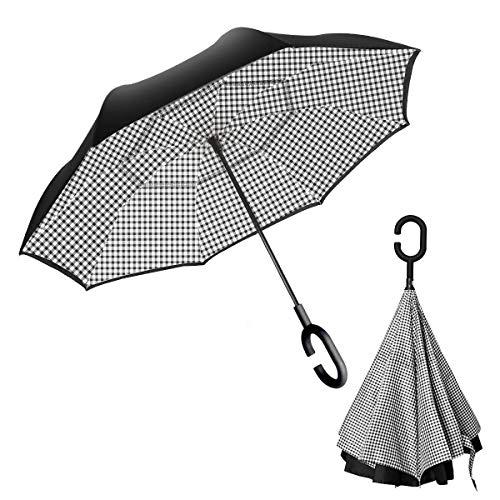 YGMDSL Parapluie Toutes Les Fibres Anti-os Style écossais Journée ensoleillée Pluie Usage Double Parapluie Inversé,White