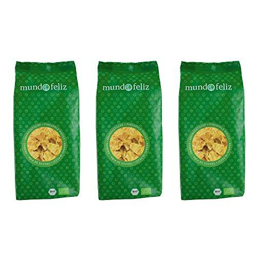 Mundo Feliz Getrocknete Ananasstücke aus Bio-Anbau, 3 x 200 g