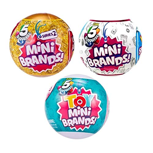 5 Surprise Mini Brands and Toy 3 Ball Bundle, Includes 1...