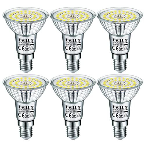 EACLL Ampoules LED E14 Blanc Froid Source de lumière 6W 6000K 820 Lumens, Équivalent incandescence halogène 65W. R50 Lampe à économie d'énergie, 120 ° Spots à Réflecteur Sans Scintillement, Lot de 6