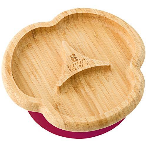 Plato, con ventosa de succión, para bebé, de bambú natural