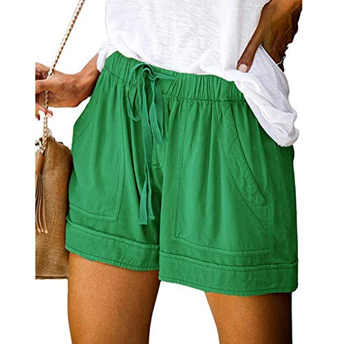 Auralto Women's Casual Plus Size Shorts Drawstring Comfy Sweatpants for Women with Pockets for Sports Beach Holiday 2021 Quick Dry Breathable Workout Shorts Mint Green XXL