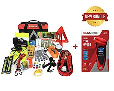 Blikzone Auto Roadside Assistance Car Kit Classic Bundled 82 Pc for Vehicle Emergency: Portable Air Compressor, Jumper Cables, Digital Tire Pressure Gauge and All Essential Tools and Aid to Drive Safe from Yaneco LLC