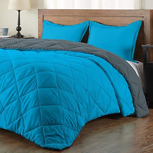 downluxe Lightweight Solid Comforter Set (Queen) with 2 Pillow Shams - 3-Piece Set - Ocean and Gray - Down Alternative Reversible Comforter