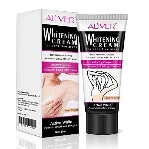 Skin Lightening Cream Natural Whitening Cream Underarm Whitening for Body Dark Skin Lightening Face, Neck, Bikini, Thigh and Sensitive and Private Area Skin 60gram