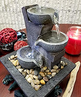 DANNER MANUFACTURING 03801 Aura Meditation Fountain with 3 Tiered LED Waterfall