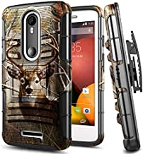 Droid Turbo 2 Case, E-Began Belt Clip Holster Heavy Duty Kickstand Protective Hybrid Armor Defender Shockproof Rugged Case for Motorola Droid Turbo 2 (Verizon XT1585 / 2015 Release) -Deer