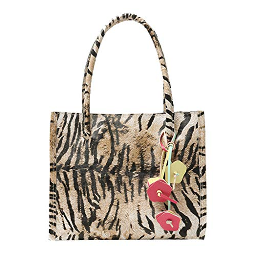 Deloito Mode Damen Blumen Schmuck Handtasche Reißverschluss Leopardenmuster Schultertasche Tragetasche Multi Color Striped Shopper Schultertasche (Gelb)