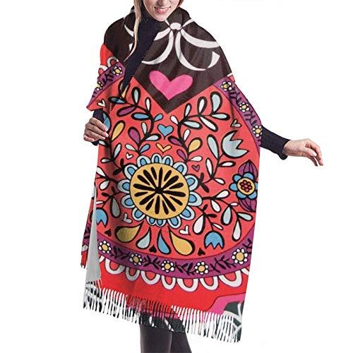 Muñeca rusa Matryoshka, bufanda de invierno de cachemir suave y gruesa, chal de pashmina para mujer, manta de gran tamaño