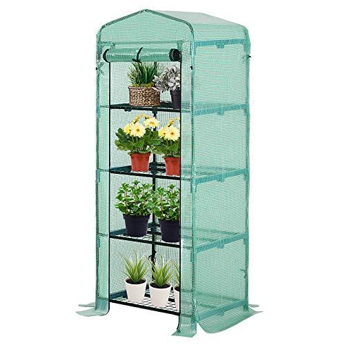 Outsunny Serra per piante Serra da Giardino con 4 scomparti 70×50×160cm, Verde