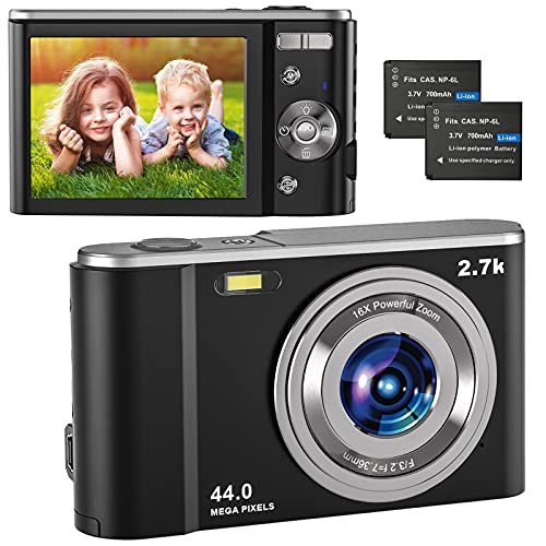"""Compactas Cámaras Digitales, 2.7K UHD Camara Compacta, Vlogging 44MP Camara de Video, Camara de Fotos con Pantalla de 2,8"""" y Zoom 16x y 2 baterías, Camara Digital para niños/Adultos/Mayores (Black)"""
