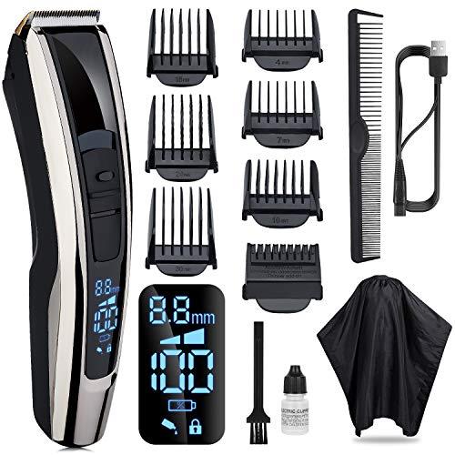 Pamoire Haarschneidemaschine Profi Rasierer Herren Elektrisch Barttrimmer Langhaarschneider kit USB Wiederaufladbar mit 7 Führungskämmen 4 Stufen Einstellbar für Familie