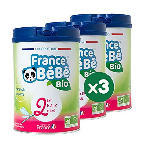 FRANCE BéBé BIO - Lait infantile de suite bébé 2ème âge en poudre - Lait fabriqué en France - 13 Vitamines 12 Minéraux - Pack 3 boîtes de 800g