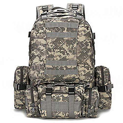Getrichar Wanderrucksäcke kombiniert mit 3 zerlegbaren Molle-Taschen/Militärtasche, Militärrucksack, Militärrucksack, Tarnrucksack, Taktischer Rucksack for Camping, Trekking 55L