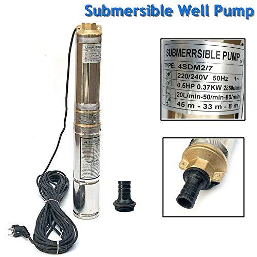 TABODD 4-Zoll-Brunnenpumpe 0,5 PS 220 V Tauchbrunnenpumpe, max. 138 Fuß, 22 GPM Edelstahl-Tiefbrunnenpumpe mit eingebautem Kondensator für den industriellen und privaten Gebrauch