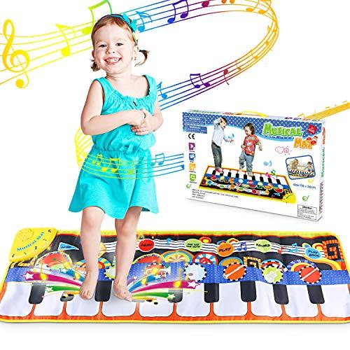 WOSTOO Piano Mat, Klaviermatte Musikmatte mit Aufnahme Funktion 5 Modi 8 Instrumente Sounds Spielzeug Musik Matte, Tanzmatte Floor Musical Spielzeug für Kinder Geschenk
