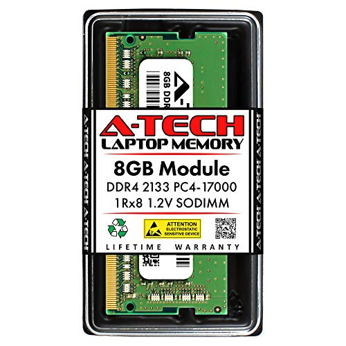 A-Tech 8GB DDR4 2133MHz SODIMM PC4-17000 1Rx8 Single Rank 260-Pin CL15 1.2V Non-ECC Unbuffered Notebook Laptop RAM Memory Upgrade Module
