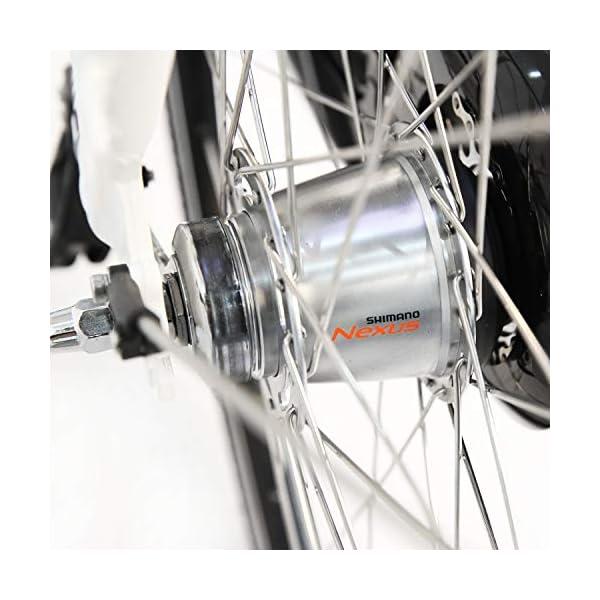"""513twjSluHL. SS600  - AsVIVA E-Bike Damen Hollandrad 28"""", Tiefeinsteiger (13Ah Akku), 7 Gang Shimano Schaltung, Mittelmotor, Scheibenbremsen, grau"""