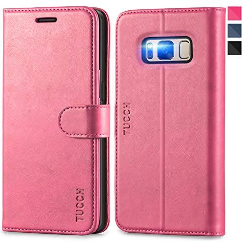 TUCCH Funda Galaxy S8, Funda de Cuero PU con [Garantía de por Vida] Cáscara de TPU, Soporte Plegable, Ranuras para Tarjetas, Cierre Magnetico, Funda Libro Protectora para Samsung Galaxy S8, Rosa